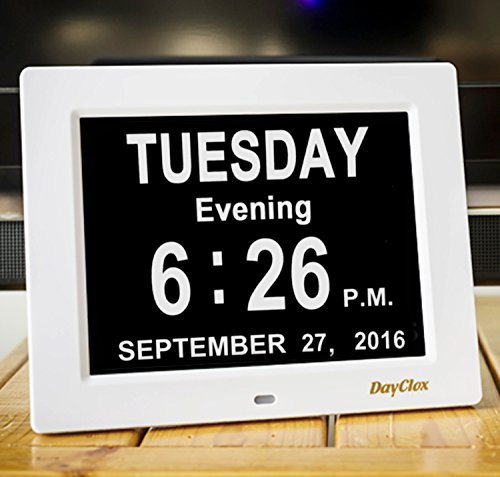 DayClox Updated Memory Loss Digital Calendar Day Clock with Day Cycles & Battery Backup