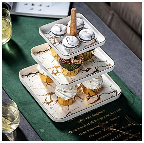 QL Obstschale Englisches Gebäck Gericht 3 Schicht Nordic Wohnzimmer Hause Keramik Nachmittagstee Snack Kuchen Stehen Snack Tablett Marmor Obstschale,White