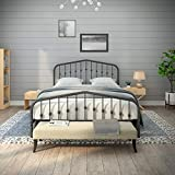 AMBEE21 Taj Mahal Queen Metal Bed Frame with Headboard and Footboard Platform/Wrought Iron/Heavy Duty/Solid Sturdy Metal Slat/Charcoal Grey Silver/No Box Spring Needed/Mattress Foundation