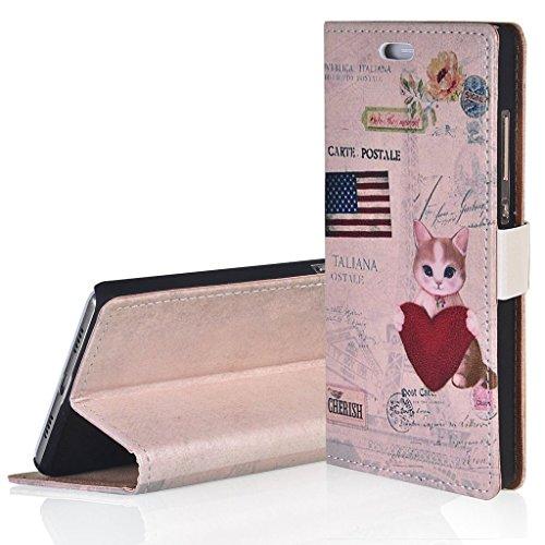 WindCase Klappetui Brieftasche PU Leder Schutzhülle für Alcatel OneTouch Pop Up OT6044 Hülle US-Katze Muster PU Ledertasche Case mit Standfunktion Kartenfächer