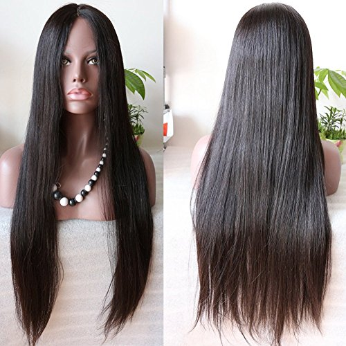 """Youth Beauty Natural Looking Light Italian Yaki Straight Full Lace Wig Best Brazilian Remy Human Hair Wigs For African Americans 130% Density 28""""Inch #1B"""