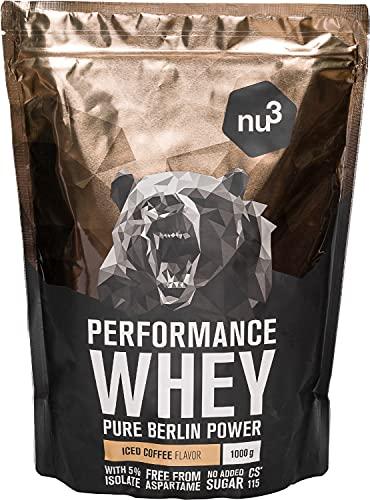 nu3 Performance Whey Protein - 1 kg de suero en polvo sabor café helado con 72.7% de proteína - Con aminoácidos BCAAs + proteína aislada isolate - Batido proteico para ganar masa - Altamente soluble