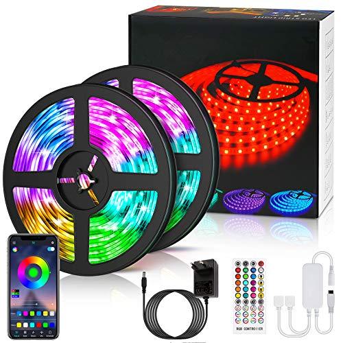 LED Strip 10m,LED Streifen LETION RGB Wasserdicht, Farbwechsel LED Lichterkette mit Fernbedienung, App-steuerung, Musikmodus, Timer-Einstellung, LED Band für Haus Schlafzimmer TV KücheDeko