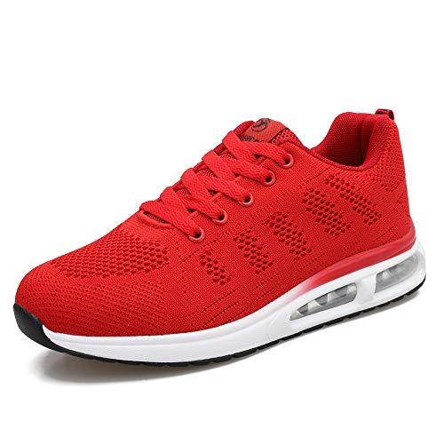 Zapatillas de Deporte atléticas para Mujer Zapatillas de Deporte con amortiguación de Aire Transpirable Moda Deportiva Gimnasio Jogging Tenis Entrenadores de Fitness Rojo 38 EU