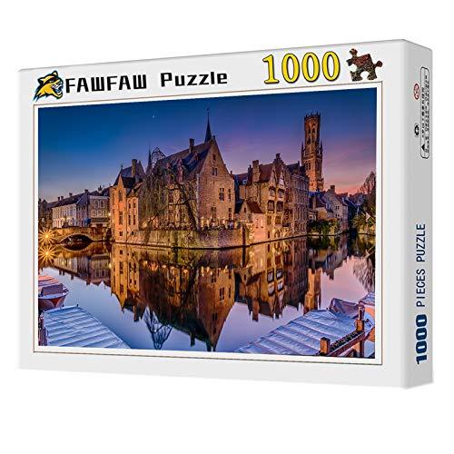 FAWFAW Puzzles 1000 Piezas, Bélgica Canal Noche Luces Reflejo, 1500/1000/500/300 Piezas, Brain Challenge Puzzle Games