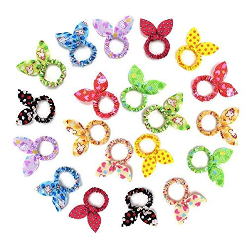 Tsful 20PCS Toddler Cute Rabbit Ear Hair Ties Bands Scrunchies for Girls Ponytail Holder