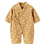 PAUBOLI Neugeborenes Baby Wickelshirt Bio-Baumwolle Garn Kimono Pyjama Langarm 0-12 Monate Gr. 0-3 Monate, katze