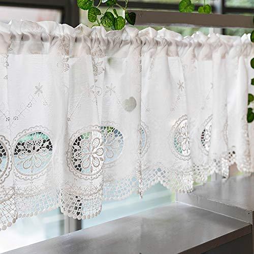 Cafe Curtains Pastorale Art Scheibengardine Halbvorhang Weiß Bestickte Gardine Küchengardine Kaffee Vorhang Bistrogardine 150×40cm