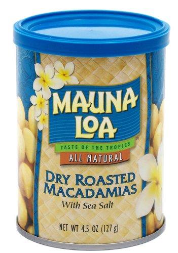 Mauna Loa Macadamias, Dry Roasted with Sea Salt, 4.5-Ounce Containers (Pack of 4)