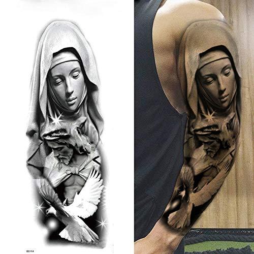 Voller Arm Temporäre Tattoos Jungfrau Maria Jesus Wasserdicht Temporäre Tattoos Aufkleber Für Männer Frauen Erwachsene Kinder Dark Mark Pigeon Beten