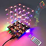 PEMENOL 4×4×4 3D Music LED Light Cube DIY Kit Remote Control RGB Light Audio Spectrum Display Colorful