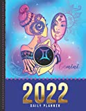 2022 Daily Planner: One Page Per Day Diary / Dated Large 365 Day Journal / Gemini - Zodiac Horoscope Sign Art / Date Book With Notes Section - To Do ... Time Slots - Schedule - Calendar / Organizer