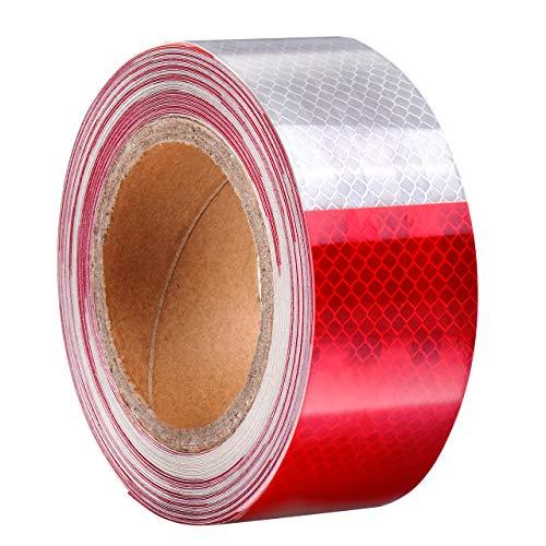 DEDC Rot Weiß Reflektierende Band Absperrband geblockt Selbstklebende Sicherheit Warnung Nacht Reflektor Streifen Aufkleber (50Fuß)