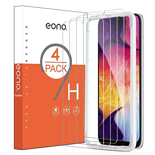 Eono Essentials [4 Pezzi] Pellicola Protettiva Compatibile con Samsung Galaxy A50/A30 in Vetro Temperato Anti-Graffi Anti-Impronte Durezza 9H Trasparenza 99,99% Senza Bolle Applicatore Incluso