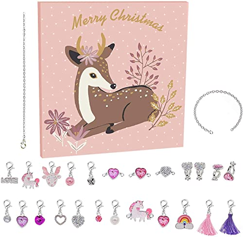 Advent Calendar 2021 24 Charms DIY Necklace Bracelet Ring Set Fashion Jewelry 24 Day Christmas Calendar Countdown Party Gift for Girls