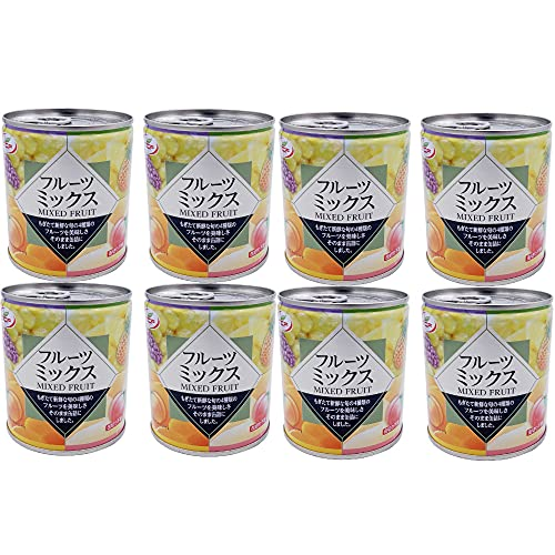 フルーツミックス 缶詰 312g×8缶 白桃、黄桃、パイナップル、ぶどうのミックスフルーツ缶 フルーツポンチ 業務用 まとめ買い