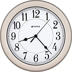 JUSTIME 8.5 inch Brushed Nickel Water Resistant Wall Clock, Special for Small Space, Office, Boats, RV (WM86006-BNW Brushed Nickel)