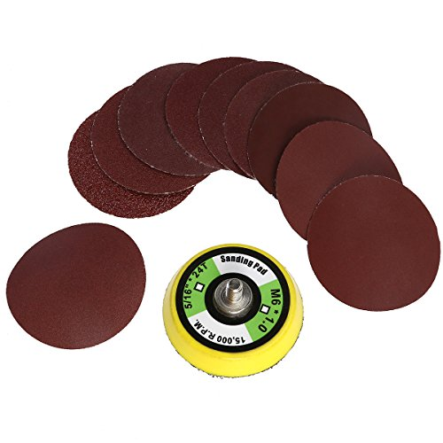 UEETEK 100pcs 2 Inch Sanding Discs with M6 Backer Plate Hook and Loop Sandpaper for Circular Sander Grits Sanding Sheets -10 Different Grits