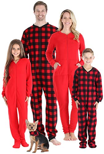 Sleepyheads Holiday Family Matching Fleece Buffalo Plaid Onesie Pajamas Jumpsuit, Buffalo Paid, Kid's 8