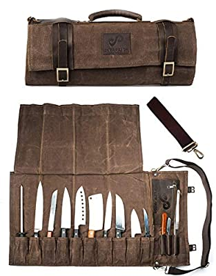 Chef Knife Roll Bag Holds 10 Knives PLUS Slots for Culinary Tools (Bag Only) - Canvas and Leather Knife Case for Professional Chefs | Chef Bag, Chef Knife Bag, Knife Carrying Case by EVERPRIDE