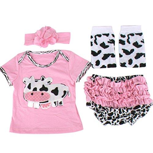 ARAUS Ropa Bebé Conjuntos Camiseta + Pantalones Cortos + Manga de Pierna + Banda de Pelo Vaca 4 Piezas Niñas Verano