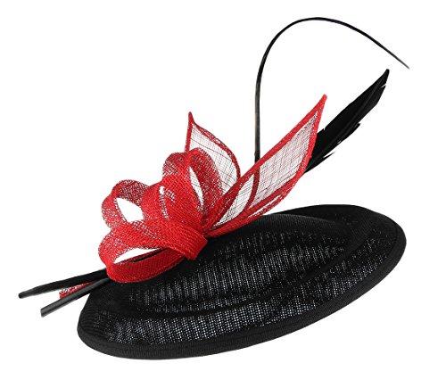 EOZY Mujer Tocado de Boda Pluma Fiesta Sombrero Vintage Negro Rojo