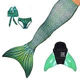 Sun Tails Set Premium Meerjungfrauenflosse Sirene Green Mermaid Tail Schwimmflossen Monoflosse...