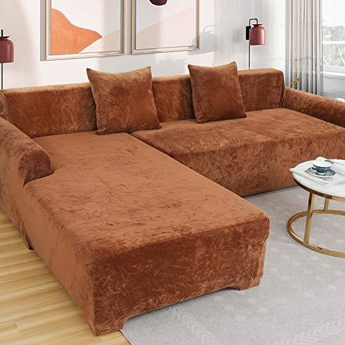 Love House Velvet Plüsch Schonbezug Sofa, Stretch Sofa Überwurf Sofabezug Weich Dick Sofahusse Für L-Form Schnittcouch,1 2 3 4 Sitzer -Kaffee Sessel