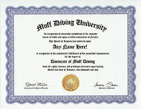 Muff Diving Muff Diver Degree: Custom Gag Diploma Doctorate Certificate (Funny Customized Joke Gift - Novelty Item)
