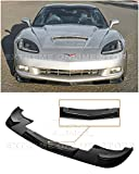 Extreme Online Store Replacement for 2005-2013 Chevrolet Corvette C6 Base Models | ZR1 Extended Style Front Bumper Lower Lip Splitter (ABS Plastic - Painted Black)
