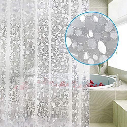 FayTun Duschvorhang Anti-Schimmel,PEVA Wasserwürfel Duschvorhänge,Wasserdichter Badvorhang,Halb-transparent Shower Curtains mit 12 Vorhangring, Bad Vorhang für Badezimmer Badewanne,120 x 200 cm