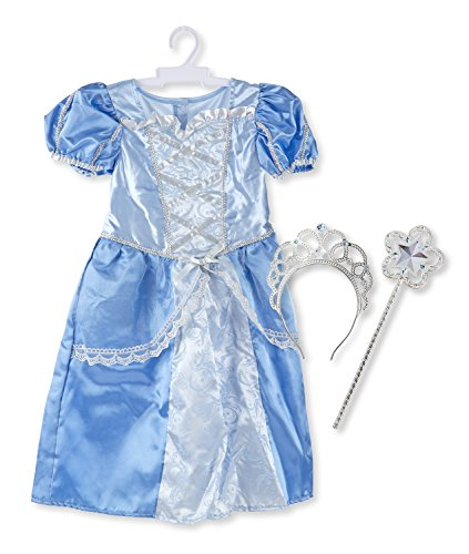 Melissa & Doug Royal Princess Role Play Costume Set (3 pcs) - Blue Gown, Tiara, Wand