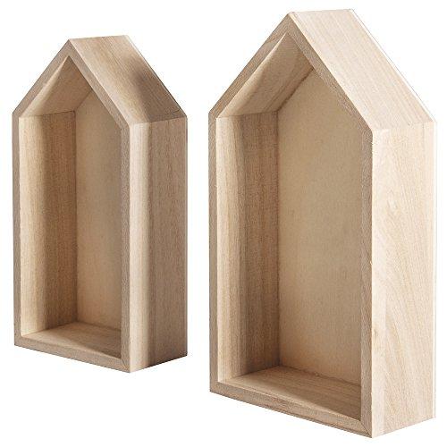 Rayher 62695000 Holz Rahmen Häuser, FSC Mix Credit, 17x9x4 cm + 15x7,5x4 cm