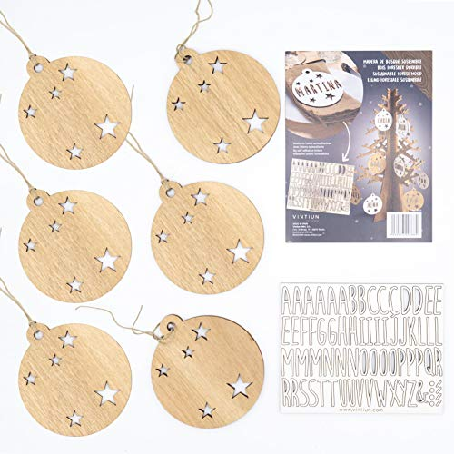 VINTIUN Bolas de Navidad Personalizadas con Nombre, Decoración Navideña Original para Arbol, Mesa, o Invitados