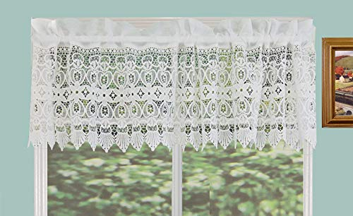 Creative Linens Knitted Lace Kitchen Curtain Valance Ivory 1PC