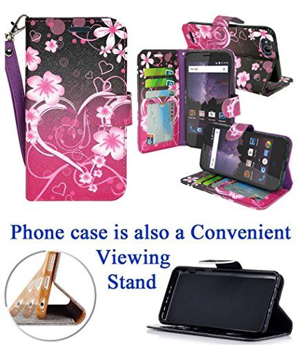 """for 5"""" ZTE Avid 4 TEMPO X BLADE VANTAGE Case Phone Case Designed Wallet Grip Grained Kick stand Hybrid Pouch Pocket Purse Screen Flip Cover (Big Heart)"""