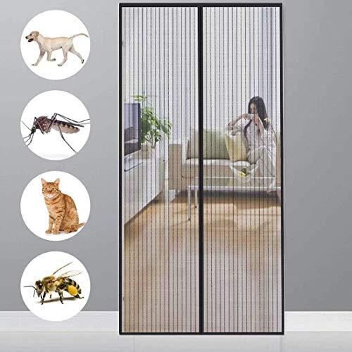 CHENG Fliegengitter Balkontür 100x200cm Magnet Insektenschutz Tür, Automatisches Schließen, faltbar, Luft kann frei strömen, für Flure/Türen - Black