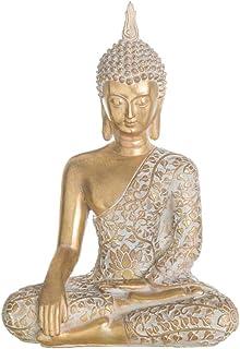 Figura Buda de Resina Blanca y Dorada exótica de 32x14x22 cm - LOLAhome