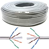 Mr. Tronic 50m Cable de Instalación Red Ethernet Bobina | CAT6, AWG24, CCA, UTP (50 Metros, Gris)