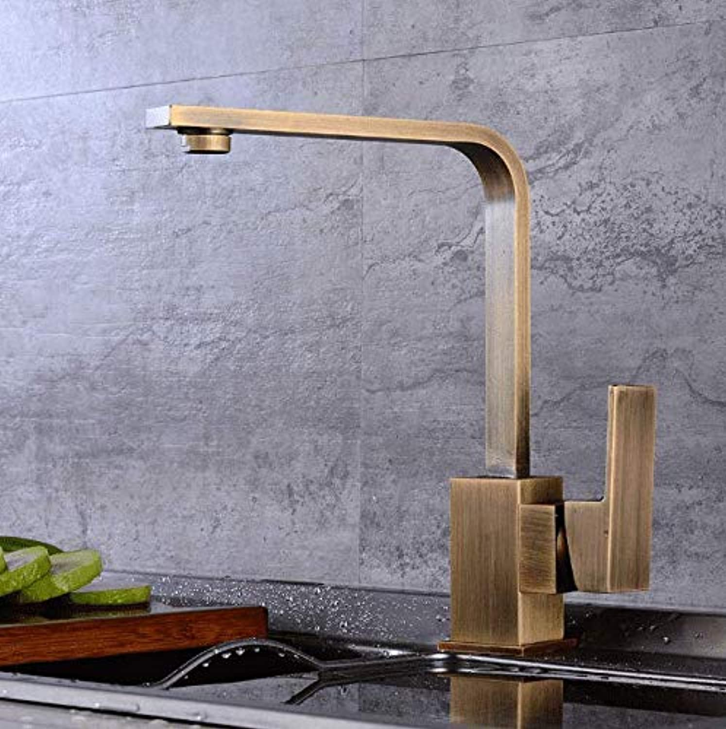 Basin Faucet Bathroom Sink Tap European Antique Hot and Cold Kitchen Faucet, Square Revolving Sink, Basin Faucet