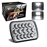 Partsam 1 Single Piece 5 x7 6 x 7 inches Rectangular LED Headlight Compatible with Jeep Wrangler YJ Cherokee XJ Trucks 4X4 Off-Road Headlamp H6054 (NOT a pair)