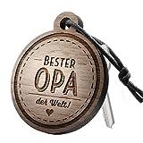 """Premium schenkYOU Schlüsselanhänger aus Nussbaumholz vorgraviert - personalisierte Geschenkidee - Gravur """"Bester Opa der Welt"""""""