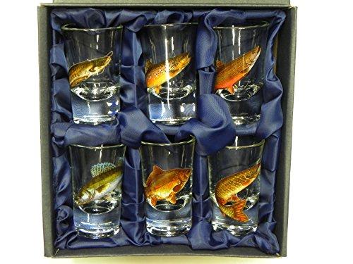 GTK - Geweihe & Trophäen KRUMHOLZ 6-teiliges Schnaps Gläser Set hohe Gläser mit Fisch Motive