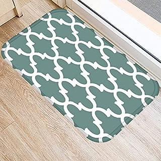 OPLJ Green Geometric Pattern Anti-Slip Suede Carpet Door Mat Doormat Outdoor Kitchen Living Room Floor Mat Rug A2 40x60cm