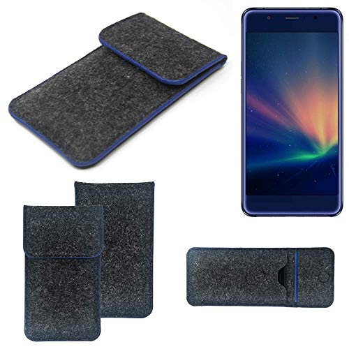 K-S-Trade® Filz Schutz Hülle Für Hisense A2 Pro Schutzhülle Filztasche Pouch Tasche Case Sleeve Handyhülle Filzhülle Dunkelgrau, Blauer Rand