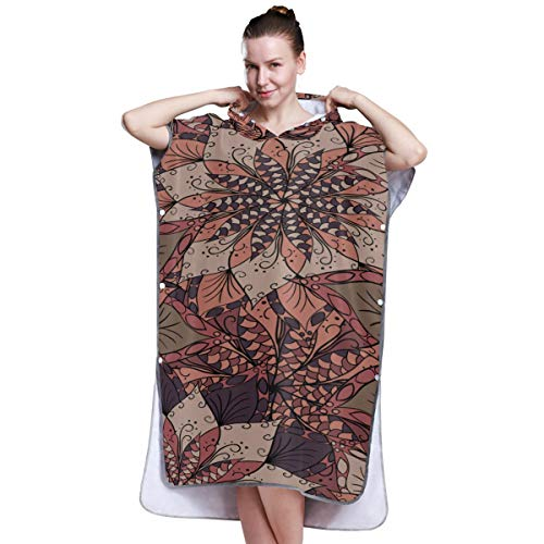 Yushg Indian Style Flower Art Boys Beach Poncho Towel Boy Beach Towel Poncho Poncho Towel for Surfing Swimming Bathing One Size Fit All