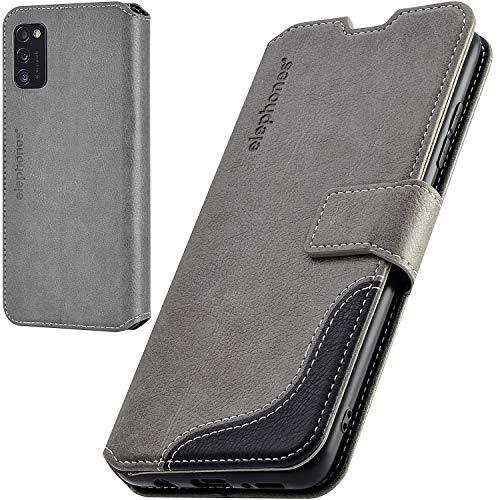 elephones Handyhülle für Samsung Galaxy A41 Hülle mit RFID-Schutz aus Premium PU Leder Flip-Hülle Handy-Tasche Schutz-Hülle Kompatibel mit Samsung Galaxy A41 Grau