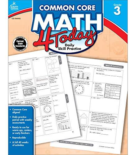 Carson Dellosa Common Core Math 4 Today Workbook—Reproducible 3rd Grade Math Workbook, Place Value, Geometry, Algebra Practice, Classroom or Homeschool Curriculum (96 pgs) (Common Core 4 Today)