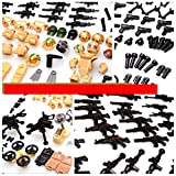 inFUNity Army Minifigures Armor and Weapons Guns Military Gear Accessories Pack (267 PCS) Fit 12 Soldiers Minifigures Distinct Outfits