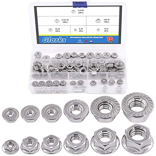 Glarks 70Pcs 1/4-20 5/16-18 3/8-16 10-24 8-32 6-32 Stainless Steel Serrated Flange Hex Lock Nuts Assortment Set